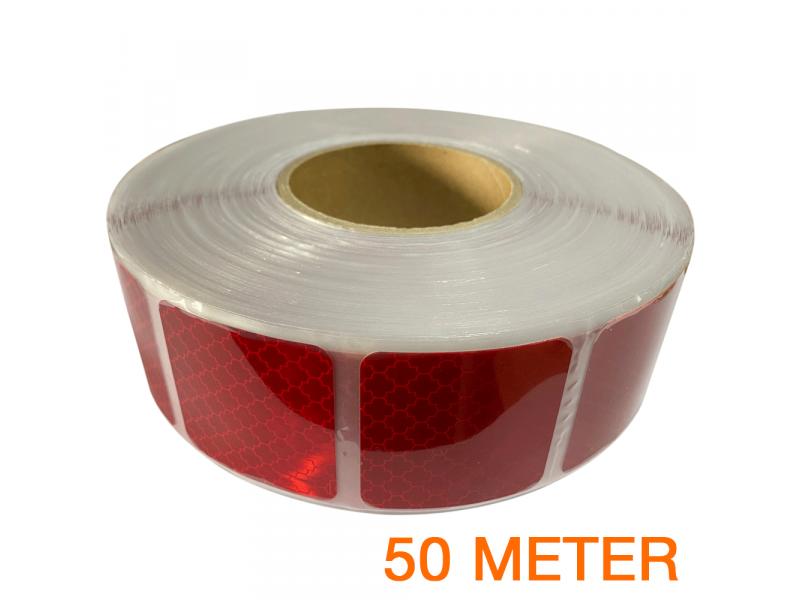 Reflecterende tape gesegmenteerd ECE R104 ROOD 50 meter