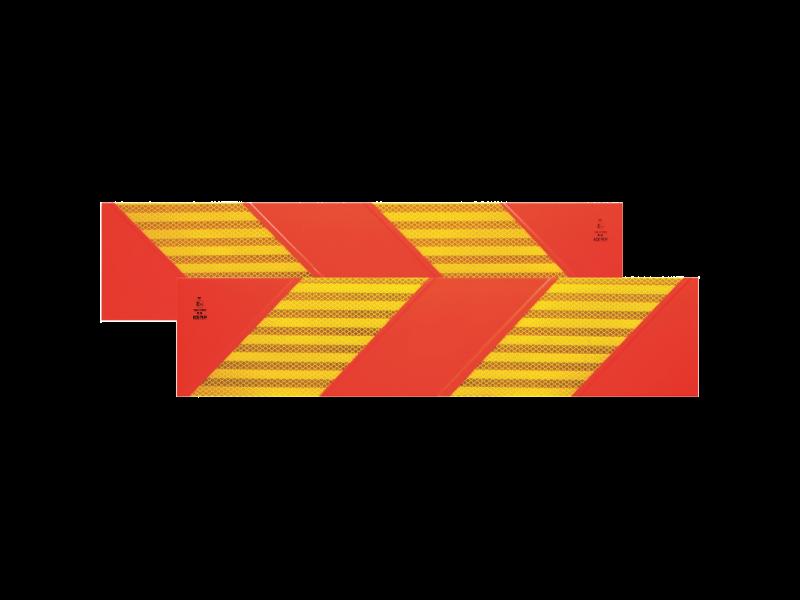 Achtermarkering klasse III 566x132 mm set van 2 als sticker