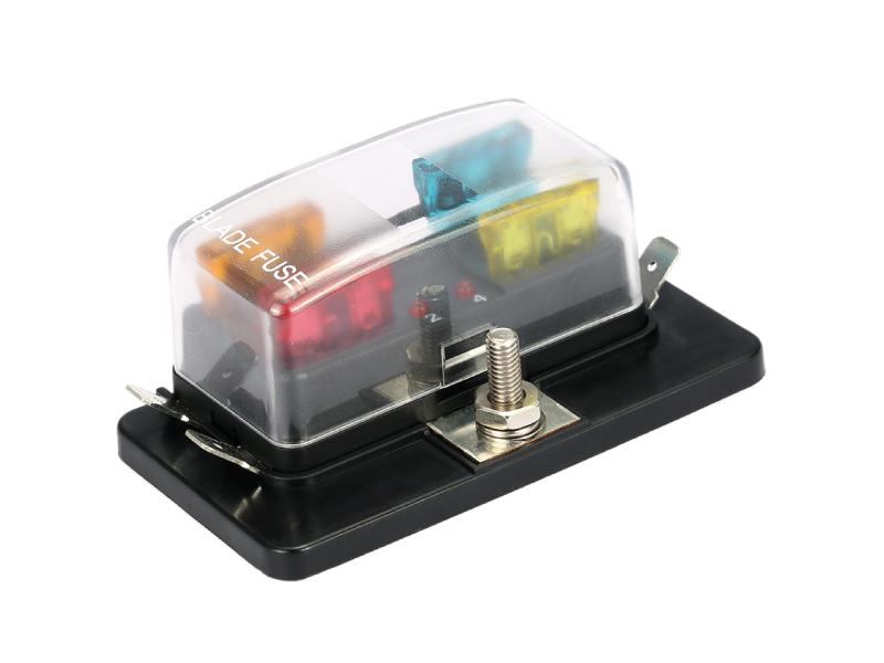 Steekzekeringhouder 4-polig met kap en LED indicator