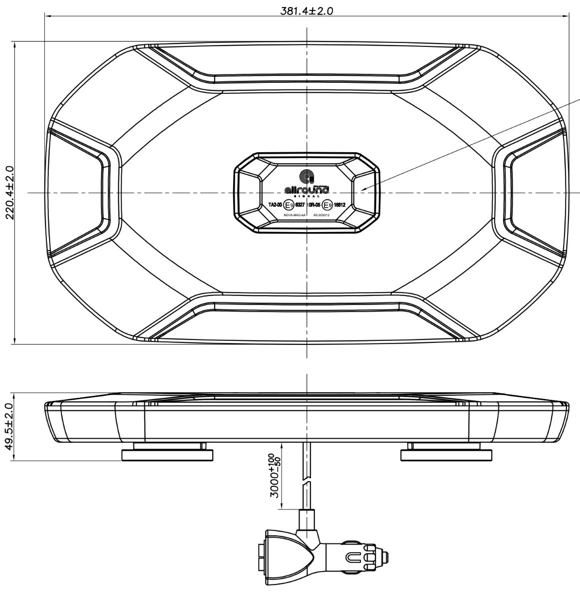 LED flitsbalk 40cm ECE R65