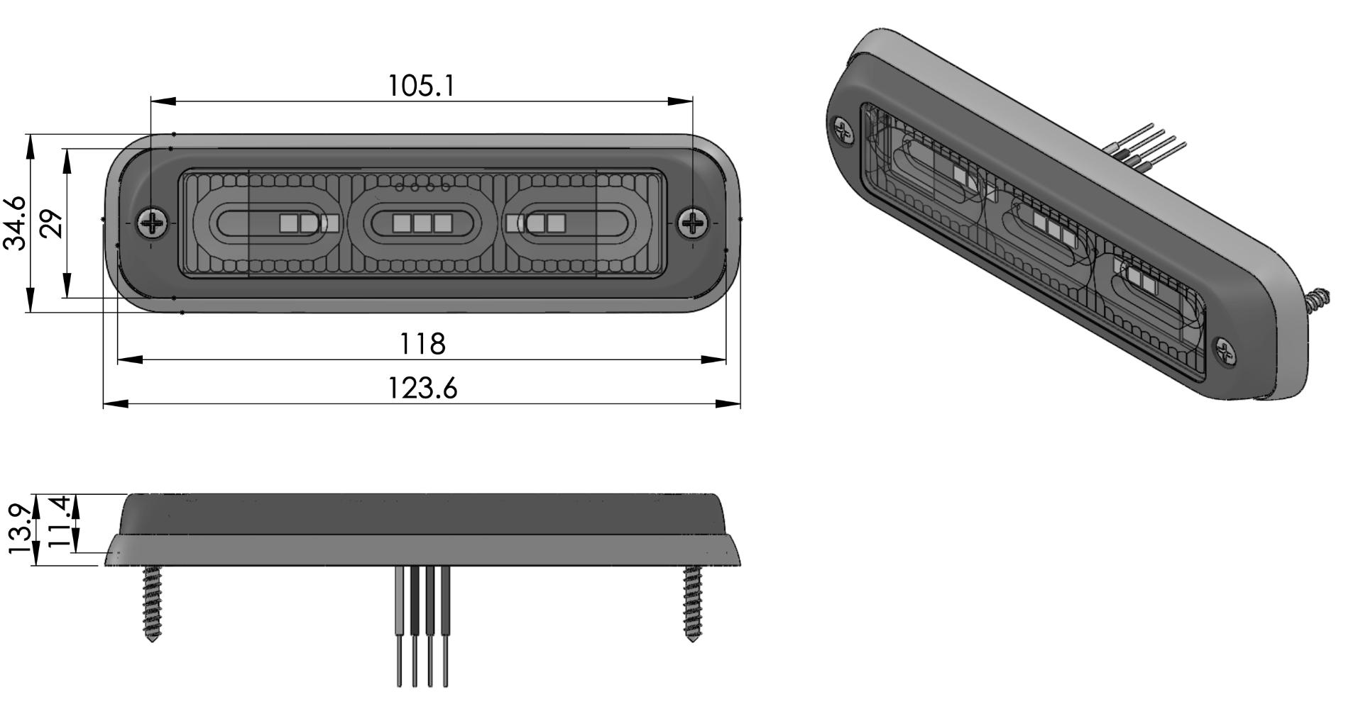 Platte LED flitser tekening